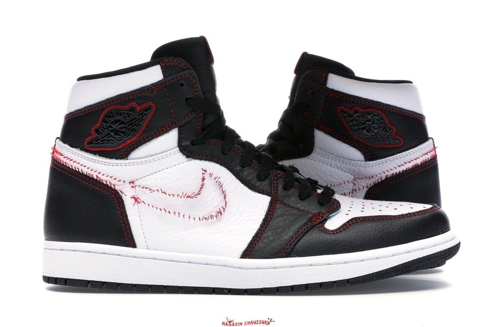 "Air Jordan 1 - Homme High Retro ""Defiant"" Blanc Noir Rouge (CD6579-071) Chaussure de Basket"