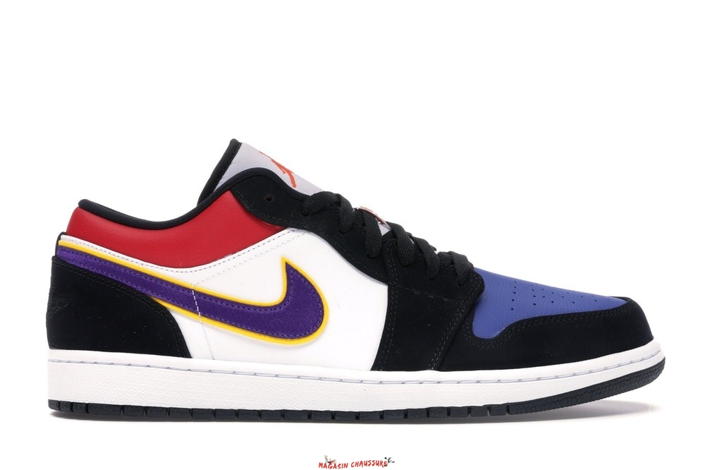 "Air Jordan 1 - Homme Low ""Lakers"" Top 3 Noir Pourpre (CJ9216-051) Chaussure de Basket"