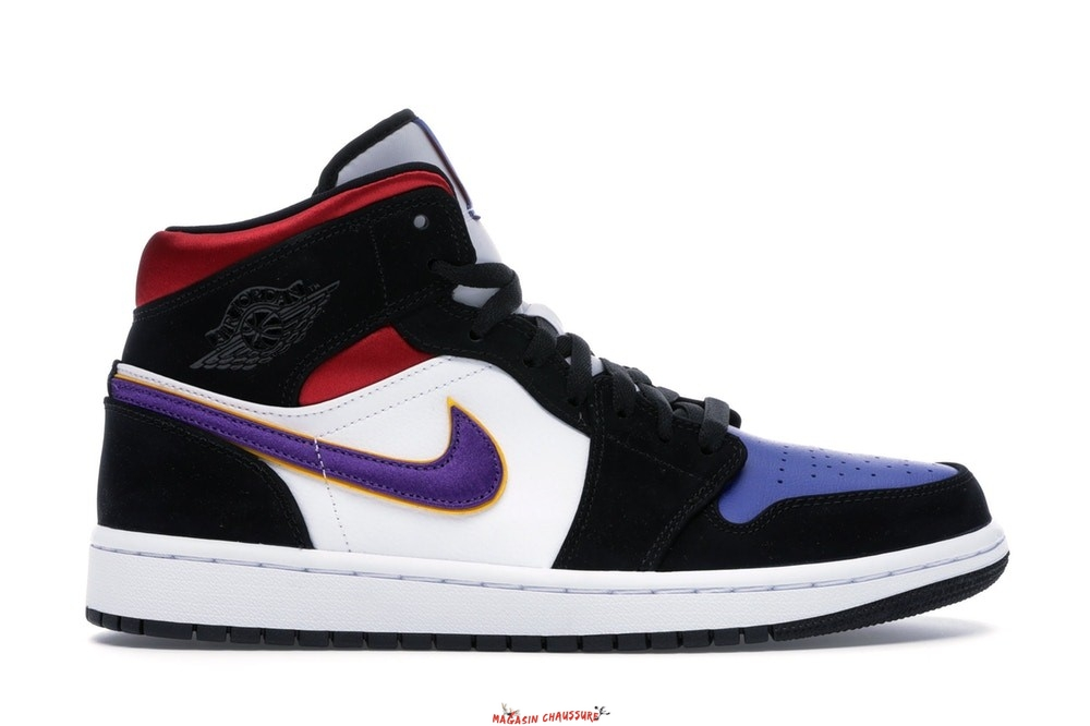 "Air Jordan 1 - Homme Mid ""Lakers"" Top 3 Noir Pourpre (852542-005) Chaussure de Basket"