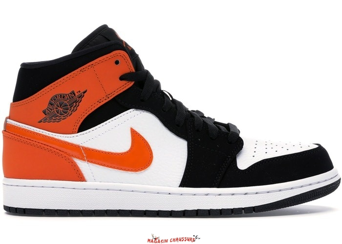 "Air Jordan 1 - Homme Mid ""Shattered Backboard"" Noir Orange (554724-058) Chaussure de Basket"