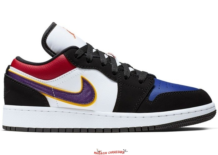 "Air Jordan 1 Low (GS) ""Lakers"" Top 3 Noir Pourpre (553560-051) Chaussure de Basket"