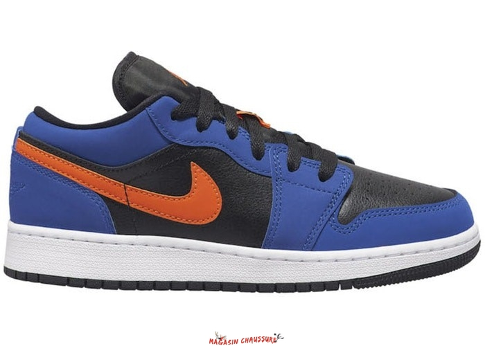 Air Jordan 1 Low (GS) Noir Bleu Orange (553560-480) Chaussure de Basket