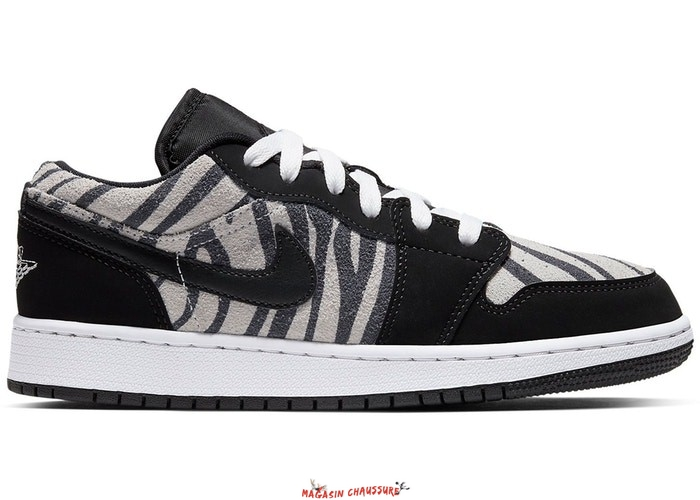 "Air Jordan 1 Low (GS) ""Zebra"" Noir Blanc (553560-057) Chaussure de Basket"