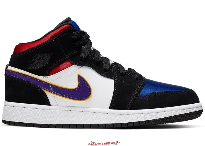 "Air Jordan 1 Mid (GS) ""Lakers"" Top 3 Noir Pourpre (BQ6931-005) Chaussure de Basket"