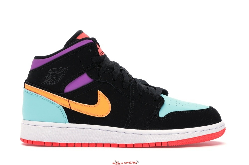 Air Jordan 1 Mid (GS) Multicolore (554725-083) Chaussure de Basket