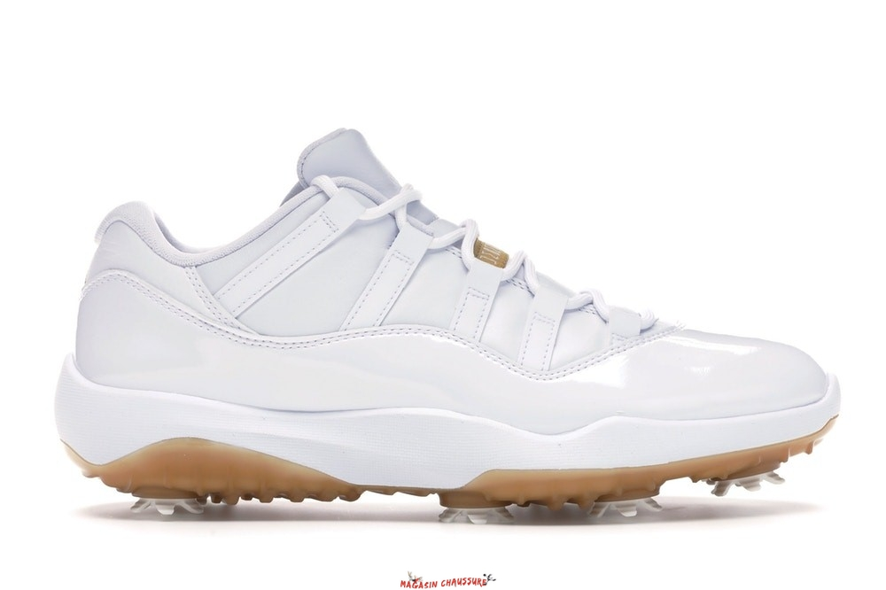 "Air Jordan 11 - Homme Low Retro Golf ""Metallic Gold"" Blanc (AQ0963-102) Chaussure de Basket"