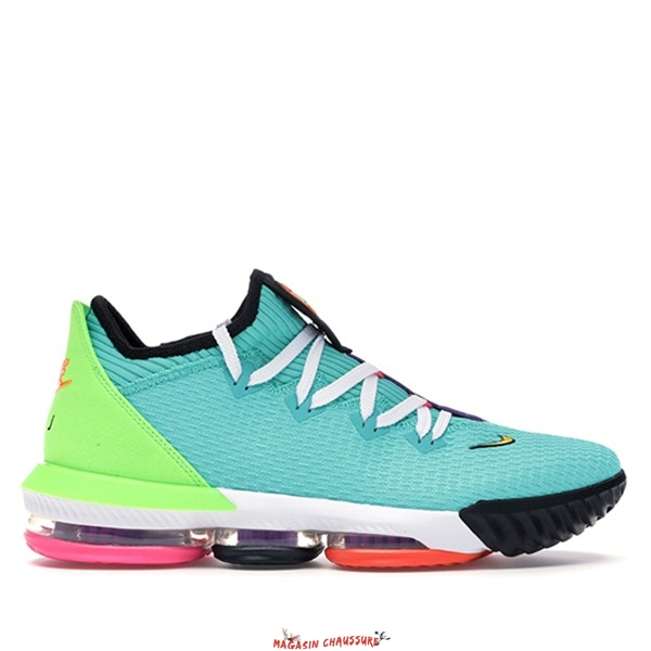 "Nike Lebron XVI 16 - Homme Low ""Air Max Trainer 2"" Vert Noir Orange (CI2668-301) Chaussure de Basket"