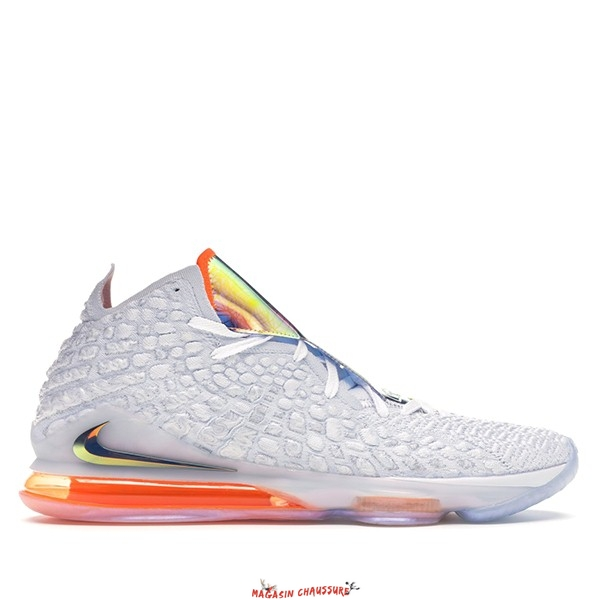 "Nike Lebron XVII 17 - Homme ""Future Air"" Blanc Gris Orange (CT3843-100) Chaussure de Basket"