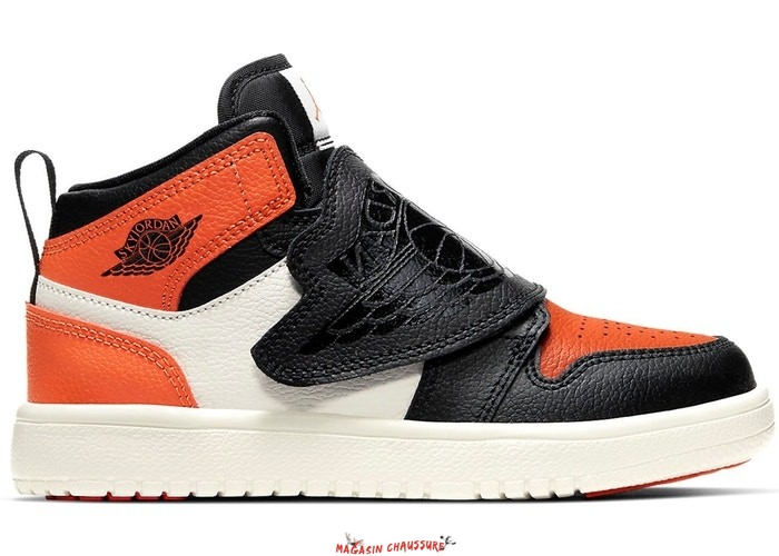 "Sky Air Jordan 1 (PS) ""Shattered Backboard"" Orange Noir (BQ7197-008) Chaussure de Basket"