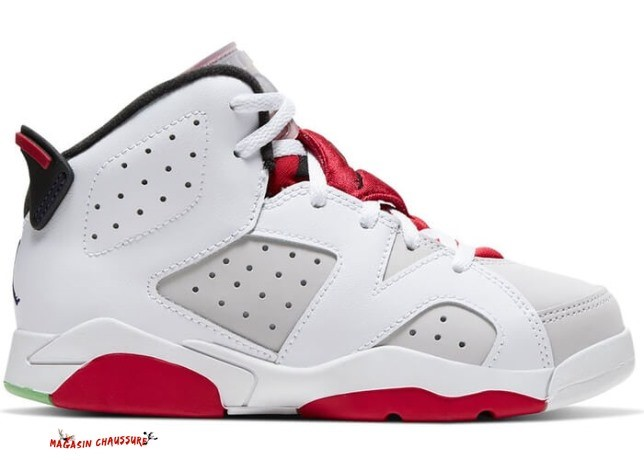 "Air Jordan 6 Retro ""Hare"" (Ps) Rouge Blanc (384666-062) Chaussure de Basket"