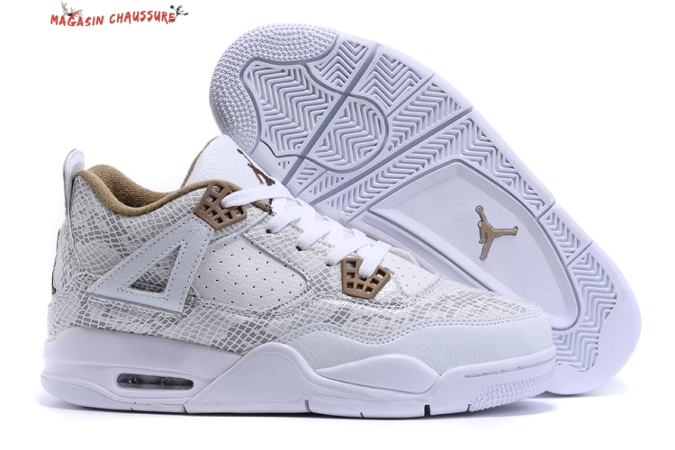 Air Jordan 4 - Homme Blanc Marron Chaussure de Basket