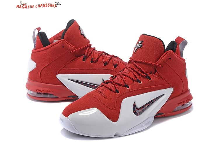 Nike Air Penny 6 - Homme Rouge Blanc Chaussure de Basket