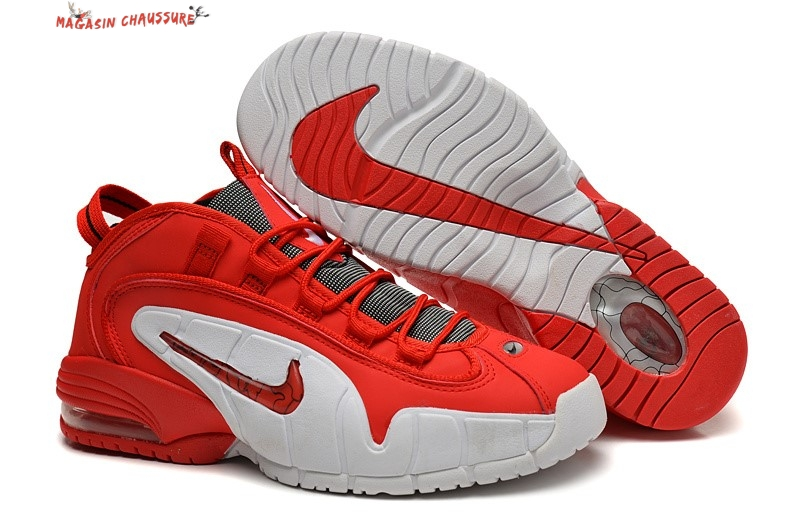 Nike Air Penny - Homme Rouge Blanc Chaussure de Basket