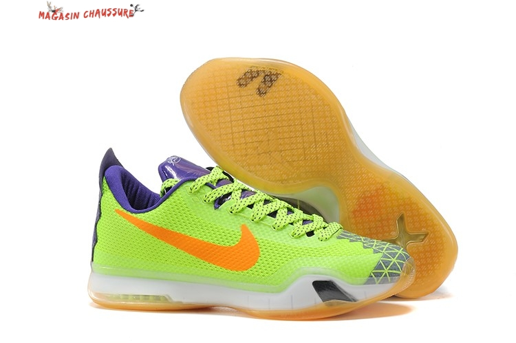 new products 0bf8c 93a14 Nike Kobe 10 - Homme Pourpre Fluorescent Vert Chaussure de Basket