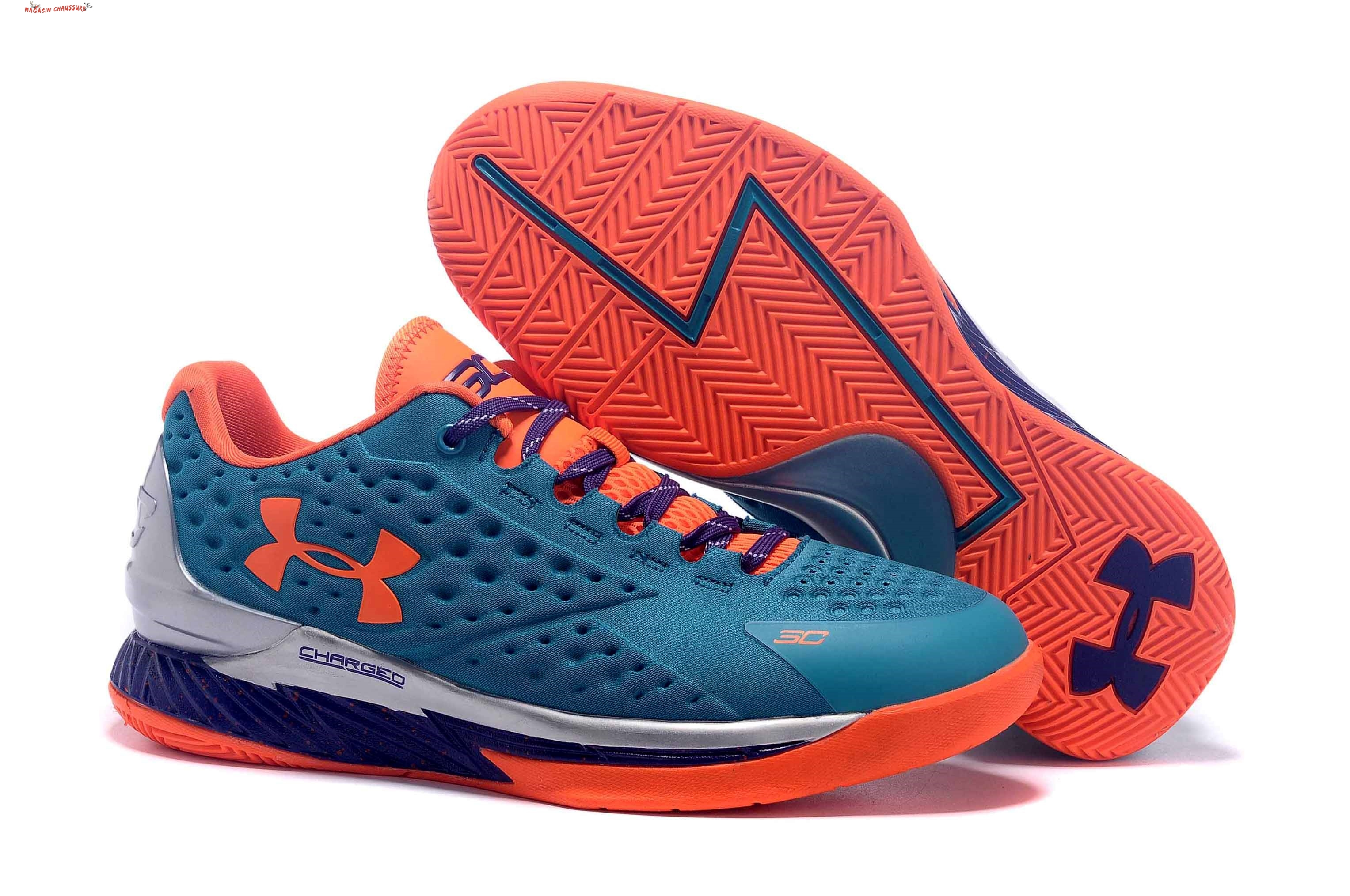 Stephen Curry 1 - Femme Bleu Orange Chaussure de Basket