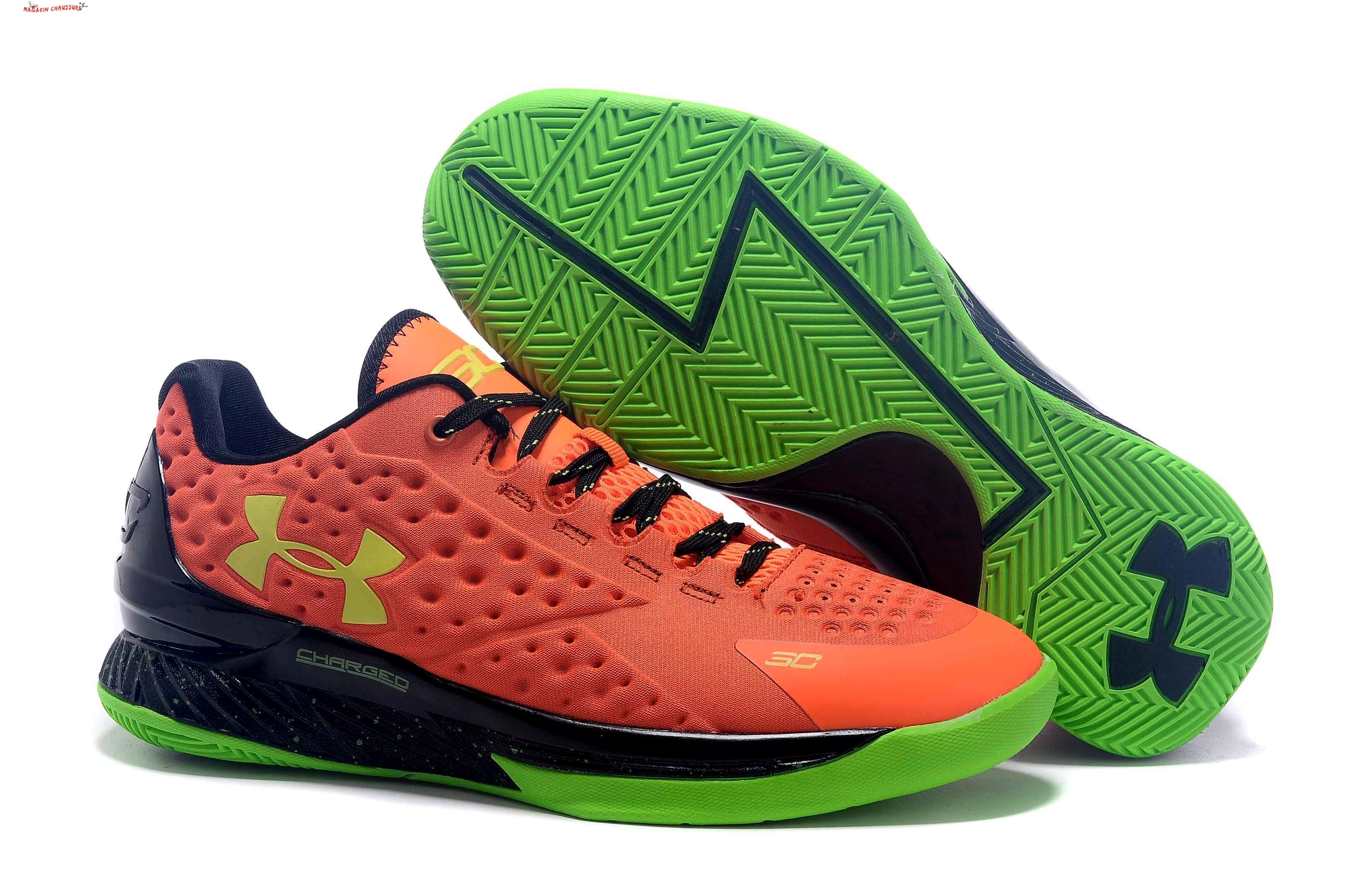 Stephen Curry 1 - Femme Orange Vert Chaussure de Basket