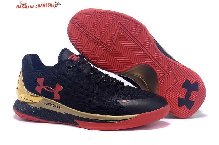 Stephen Curry 1 - Homme Noir Rouge Or Chaussure de Basket